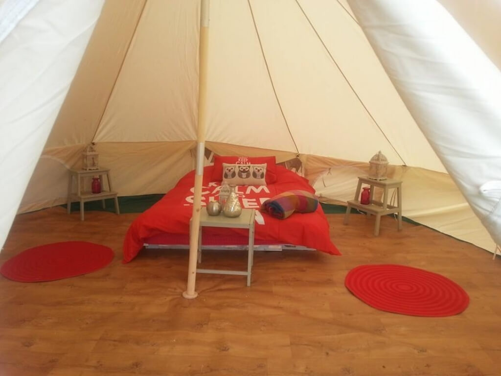 A picture of the inside of one of the bell tents at the Old Forge Glamping in Wicklow