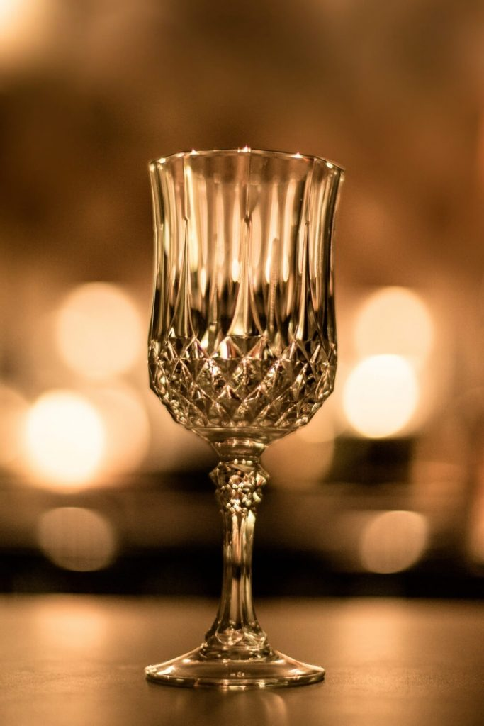 A picture of a Waterford Crystal glass lit from behind