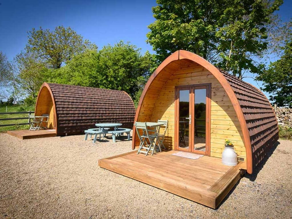 A picture of the glamping huts at Westport Glamping, Ireland