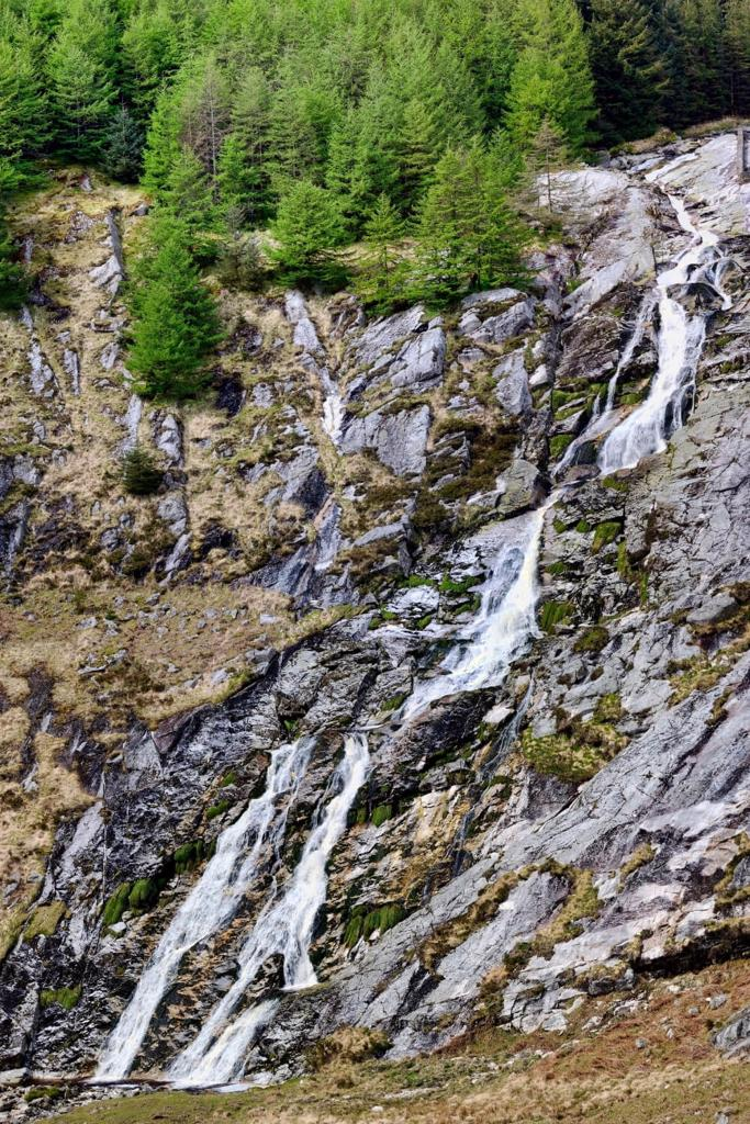 A picture of the water on the rock face of the Glenmacnass Waterfall in Ireland