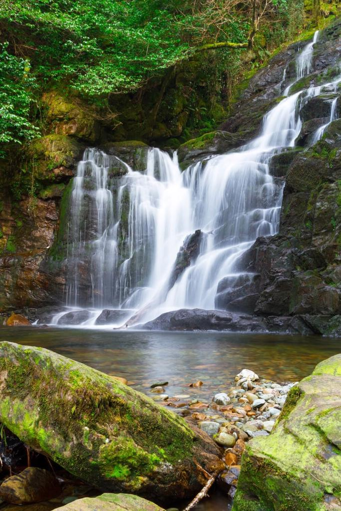 A picture of the milky waters of the Torc Waterfall, Killarney National Park