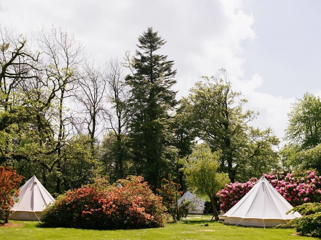 A picture of some of the glamping bell tents at Ballyvolane Glamping