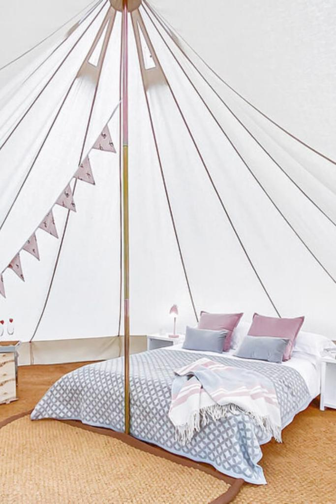A picture inside one of the bell tents at Wild Atlantic Way Glamping, Cork