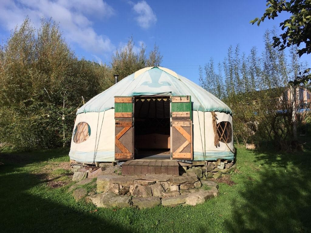 A picture of the woodland mongolian yurt at Inch Hideaway Eco Glamping, Cork