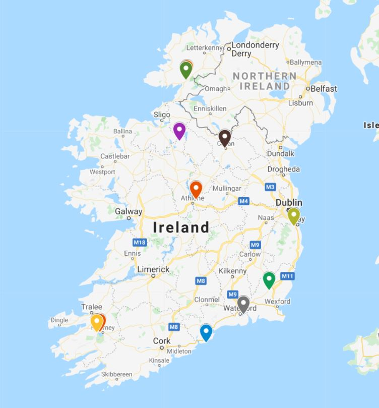 A picture of a Google map showing the locations of the best luxury hotels in Ireland