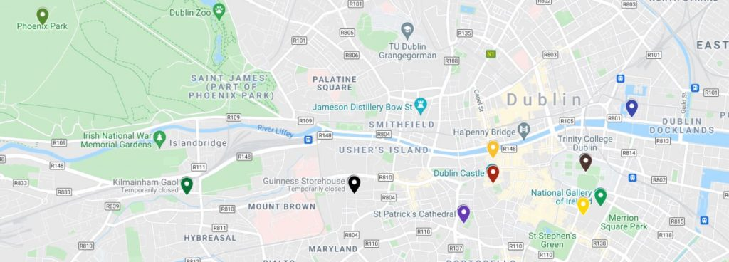 A picture of a Google map showing the locations of the top 10 Dublin attractions to visit