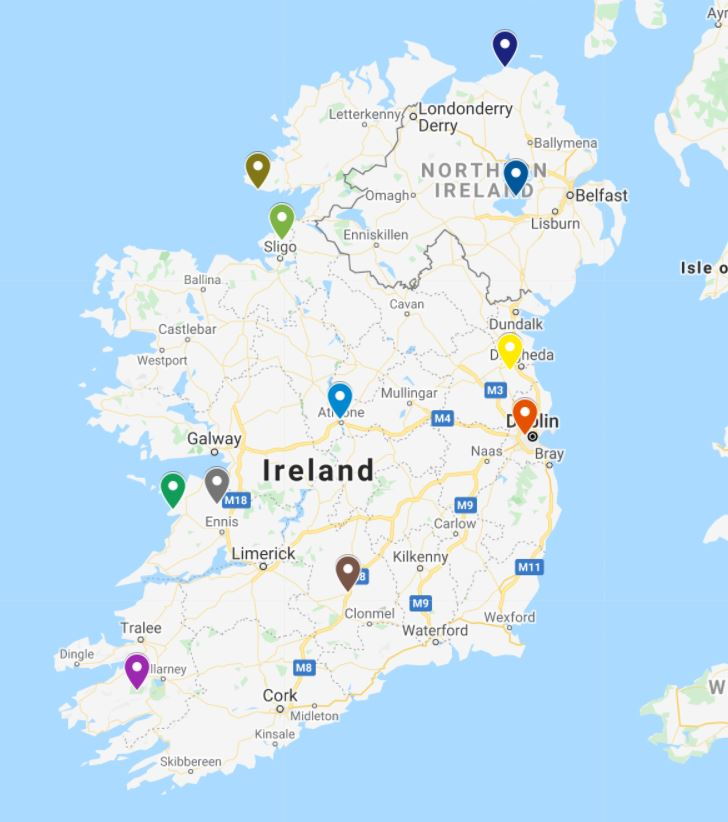 A picture of a Google map showing the locations of the natural wonders of Ireland to visit
