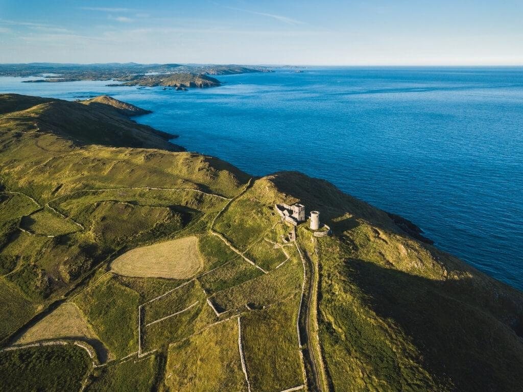 An aerial picture of the Old Lighthouse, Cape Clear Island, Cork