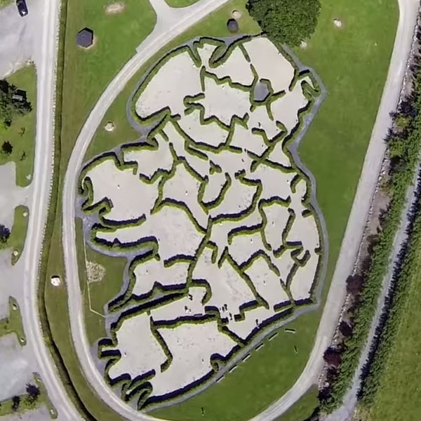 An aerial picture of the Rathwood Maze of Ireland