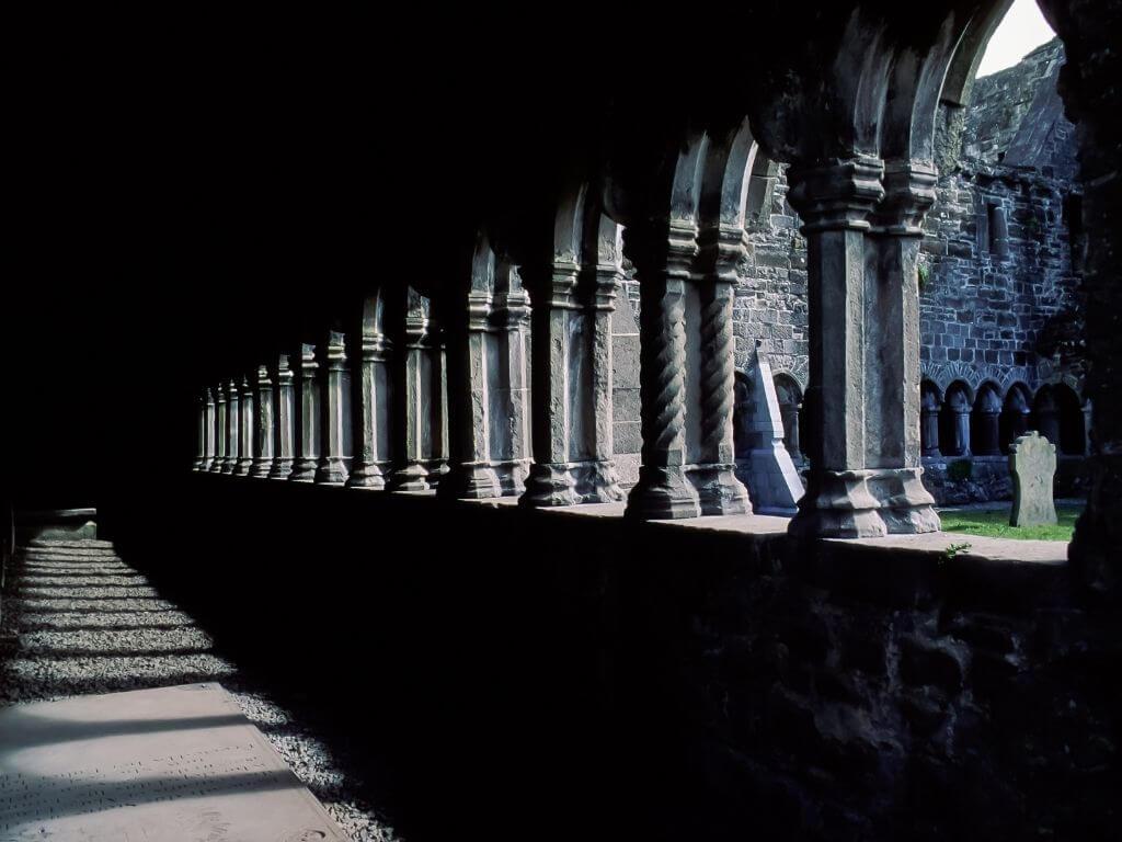 A picture inside the cloisters of Sligo Abbey