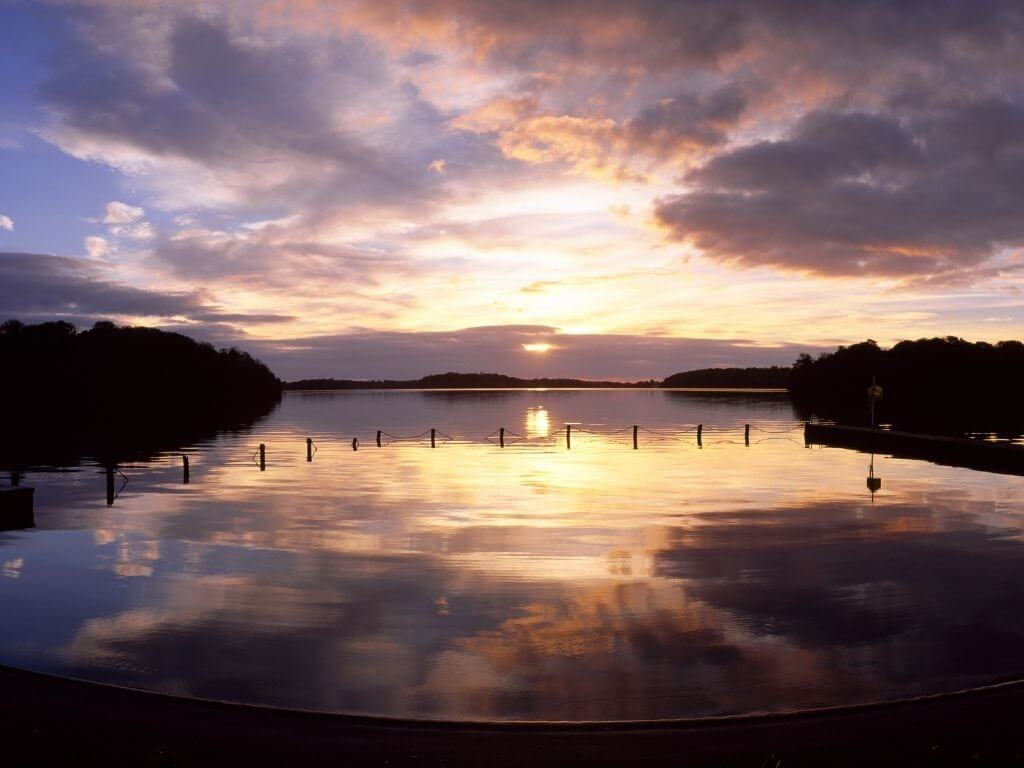 A sunset picture over Lough Key, one of the best things to visit in County Leitrim