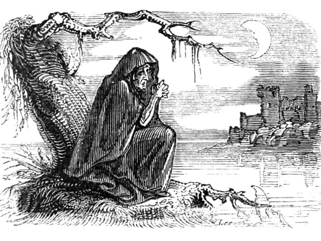 A drawing of a banshee hag, sitting under a tree watching a tower