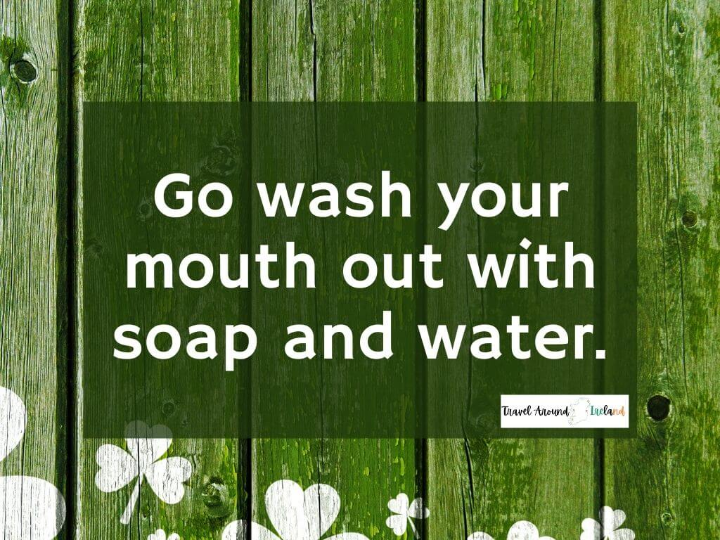 """A quote saying """"Go wash your mouth out with soap and water"""""""