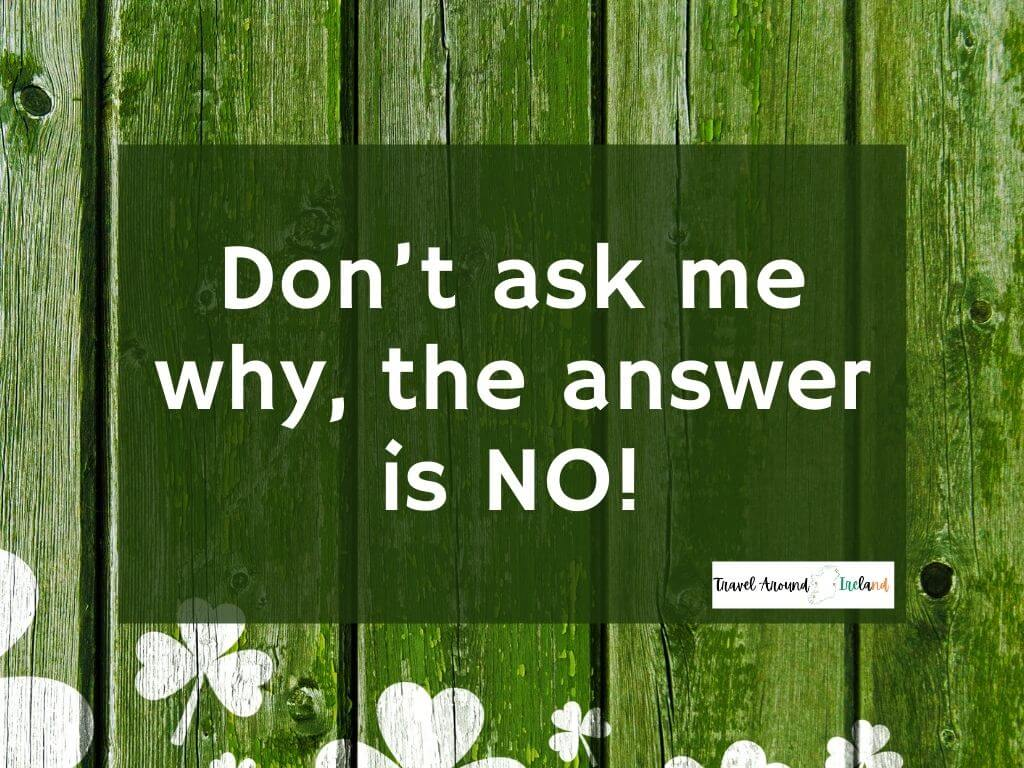 """A quote saying """"Don't ask me why, the answer is NO!"""""""