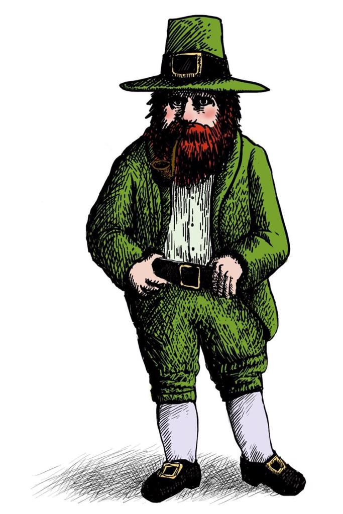 A drawing of a Leprechaun with a red bushy beard, pipe in mouth and green coat, breeches and hat