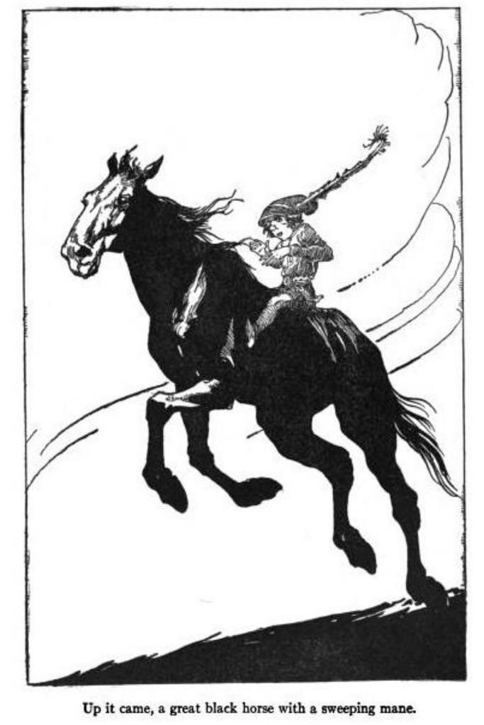 A drawing of a Puca Irish mythological creature on horseback