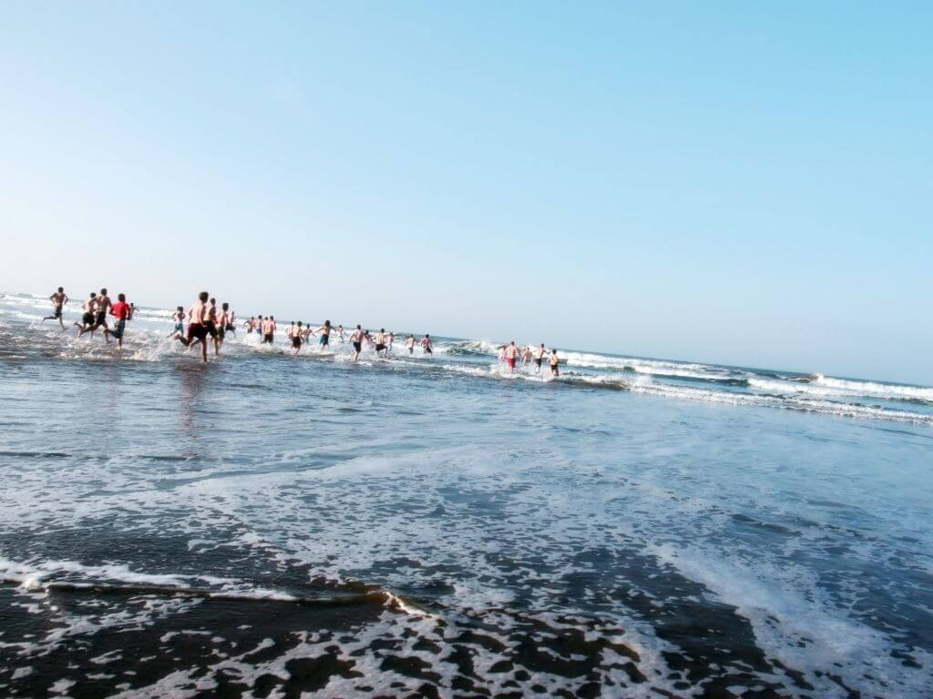 A picture of people taking part in a Christmas Day Swim