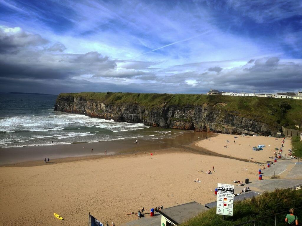 A picture of part of the beach and cliffs at Ballybunion, Kerry