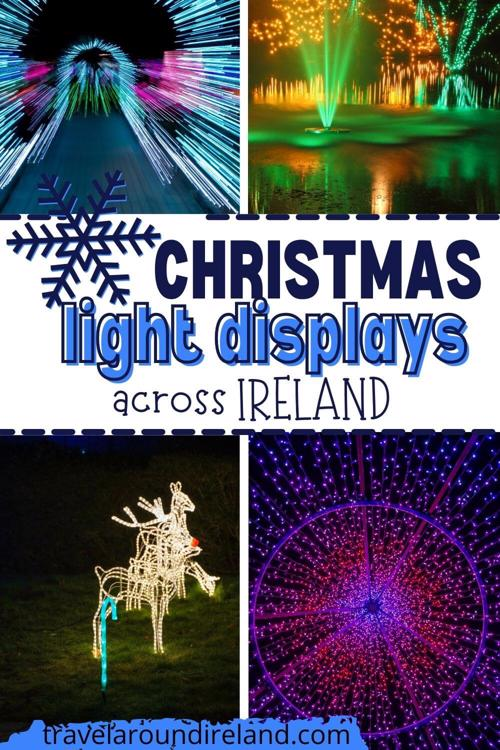 A grid of four Christmas light images with text overlay saying Christmas light displays across Ireland