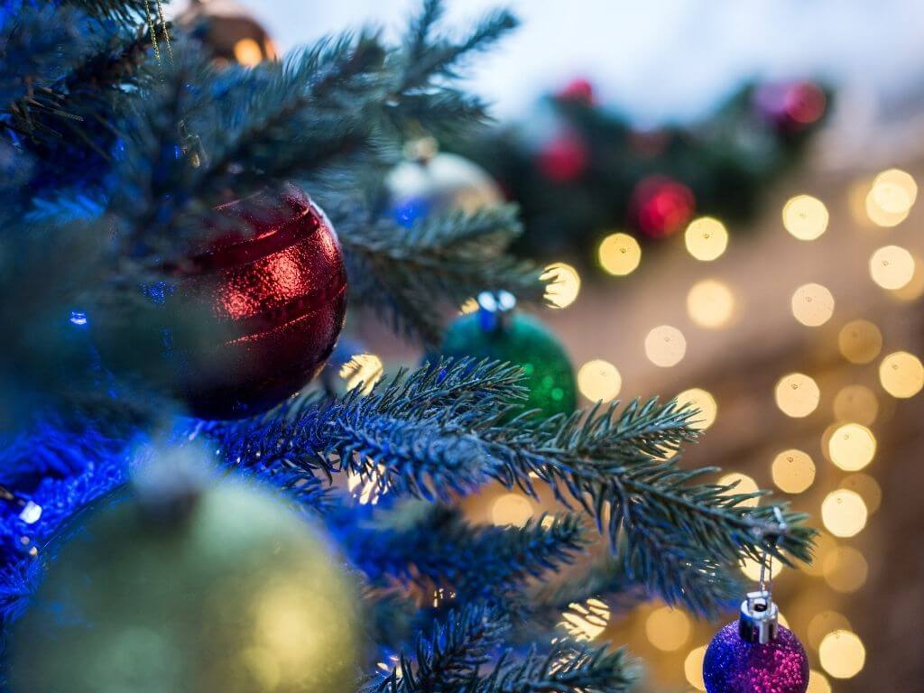 Christmas lights, trees and baubles