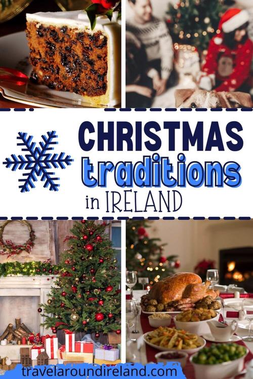 A grid of four Christmas-themed pictures with text across the middle saying Christmas traditions in Ireland