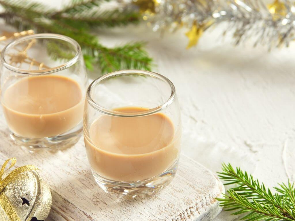A picture of two glasses containing Irish Baileys Liqueur