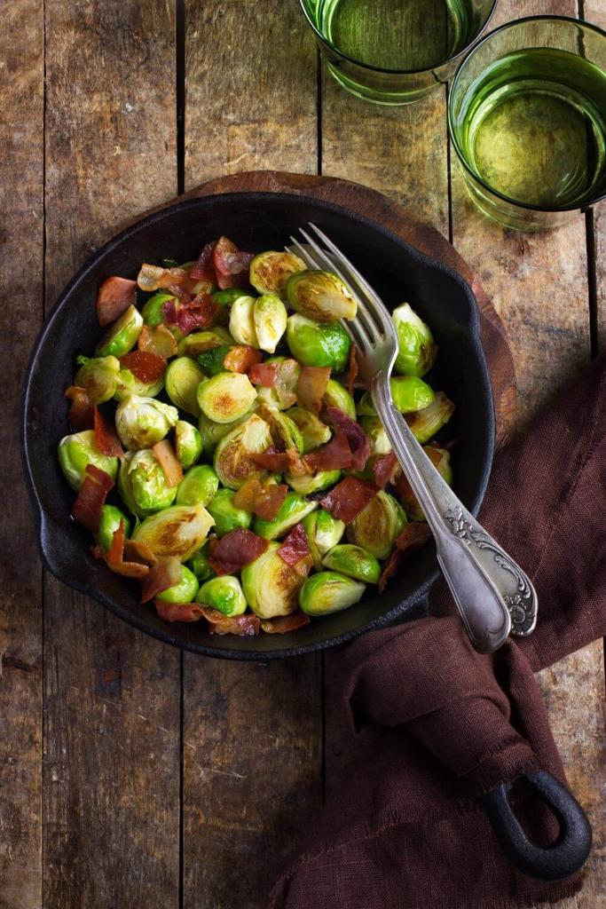 A picture of some festive brussel sprouts